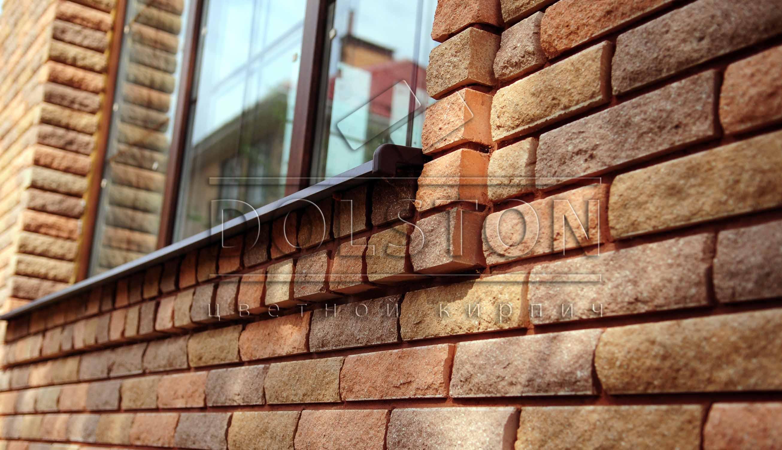 Отделка окна декоративным кирпичом - фото 3345