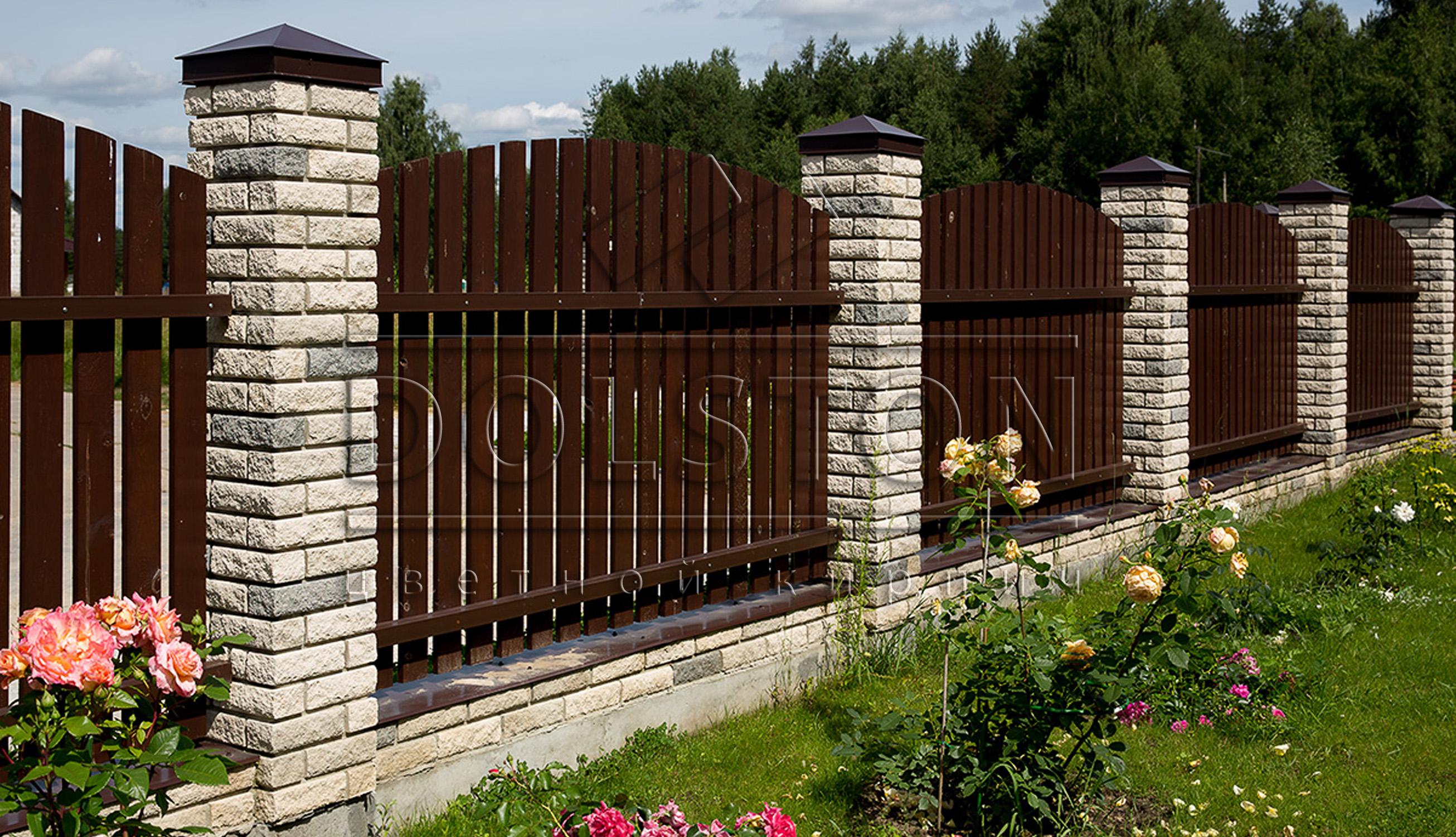 Кирпичный забор из серого облицовочного кирпича - фото № 2456