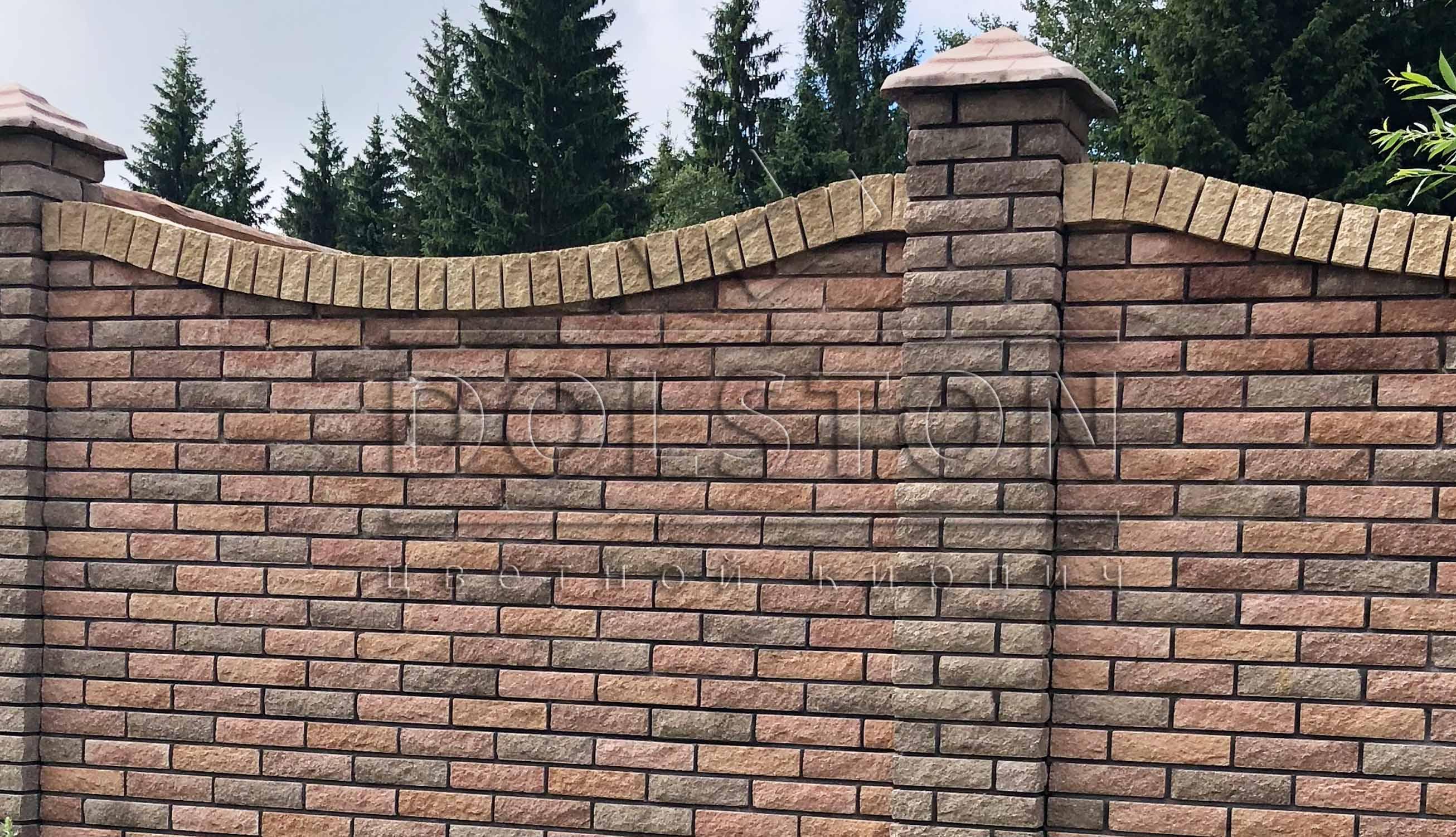 Забор коричневыый кирпич - фото №786