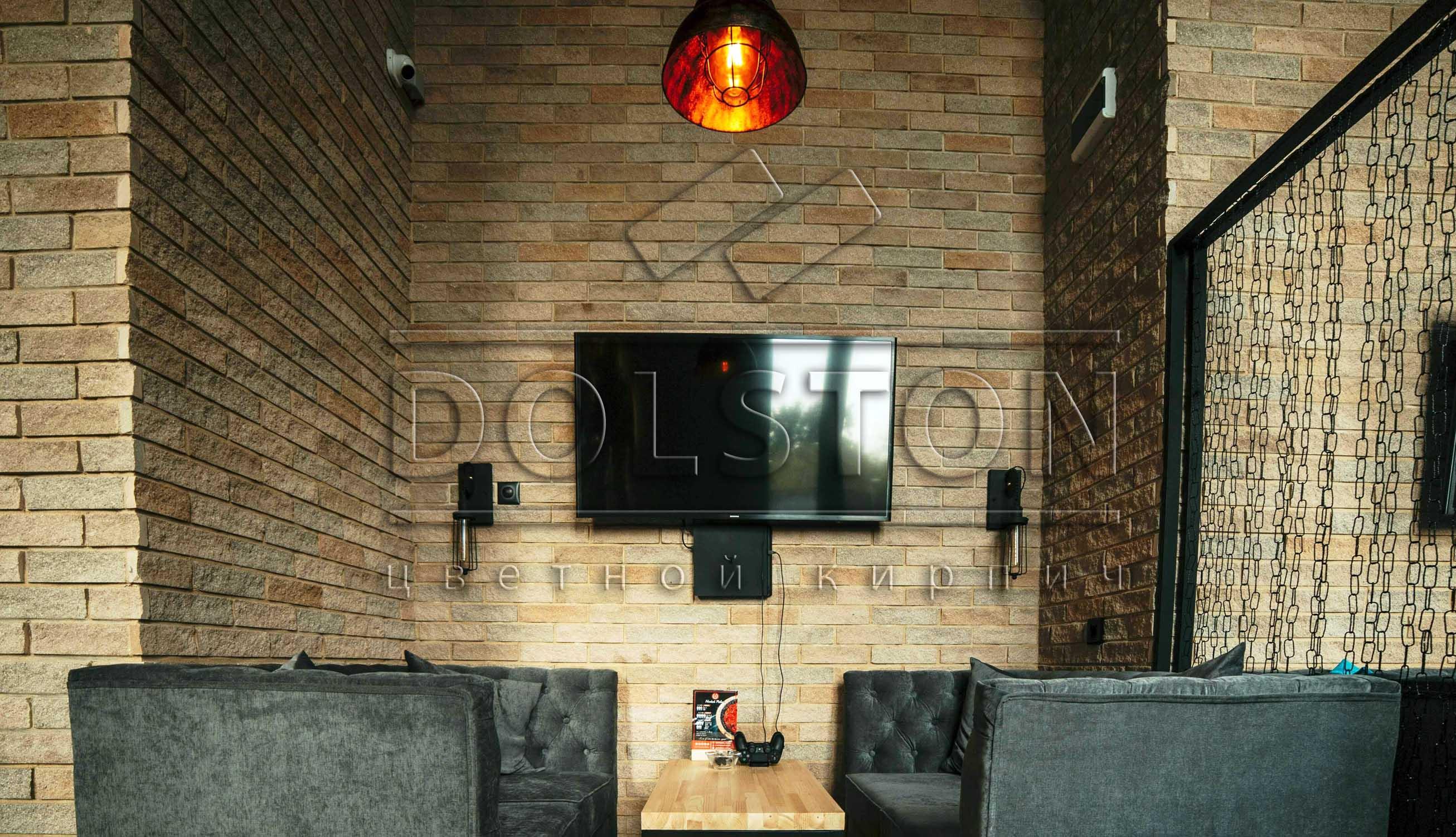 Внутренняя отделка ресторана клинкерной плиткой - фото № 345